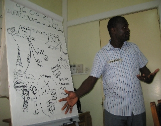 My colleague Henri sharing the basic idea of the information flow and how it could intersect with a FrontlineSMS and Ushahidi system.