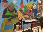 The arts group did a fantastic mural in the school yard that faces the busy street.