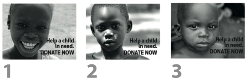 People were asked which of these images they would prefer in a fundraising campaign. (Image courtesy of Leah Chung)