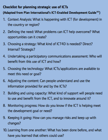 ICT-enabled development checklist developed by Hannah Beardon for Plan International.