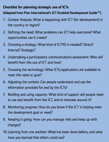 ICT-enabled development checklist developed by Hannah Beardon for Plan International.